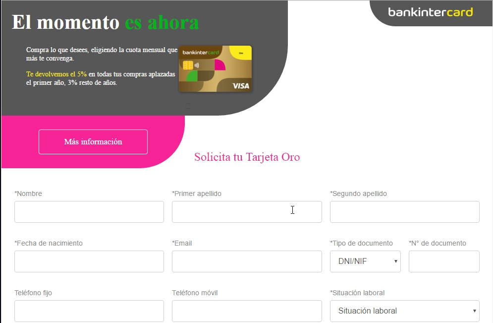 Tarjeta Oro Bankintercard